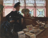 the cigar seller at the glasgow exhibition by john lavery