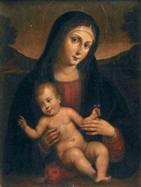 vierge à l'enfant tenant des cerises dans la main gauche by giacomo raibolini