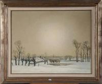 paysage enneigé au moulin à vent by karel van lerberghe