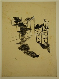 la chaise, planche pour le corbeau d'edgar allan poe by édouard manet