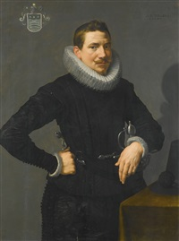 portrait of a gentleman, half length, standing beside a table with his left arm resting on a sword by frans pourbus the younger