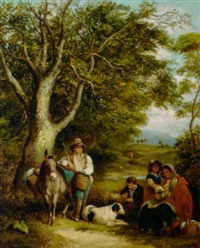 travellers resting on a wooded track by arthur james stark