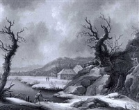 winter landscape with a peasant and dog by a lake by johann christoph von bemmel