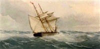 a schooner heeling in the breeze by richmond markes