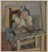 figura di fanciulla con libri by pietro dodero