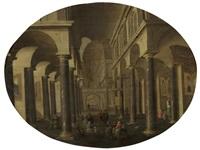 figures gathered in a church interior by hans jurriaensz van baden