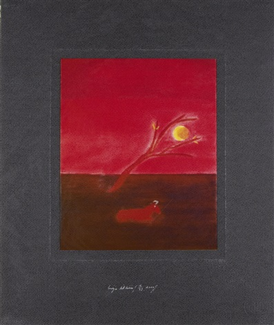 ram in moonlight by craigie aitchison