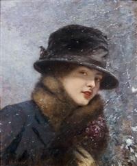 jeune femme au bouquet de violettes sous la neige (colette gervex) by henri gervex