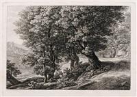 landschaften mit der widmung an josef abel (4 works) by johann christian reinhart