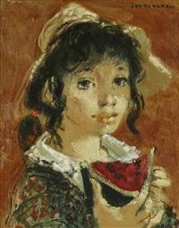 jeune fille à la pastèque by lucien joseph fontanarosa
