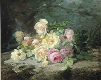 white and pink roses on a forest floor by margaretha roosenboom