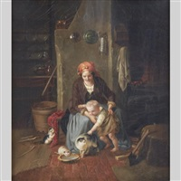 the favourite; playtime with mother cat and her kittens (pair) by franz meyerheim