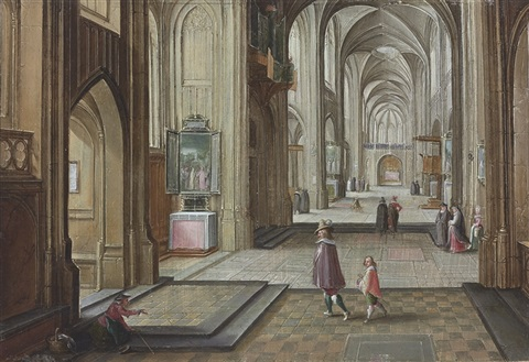 the interior of a gothic cathedral, with elegant figures by hendrick van steenwyck the younger