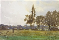 landscape with view of tennis game, through trees by joseph poole addey