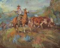 horse and rider and cattle by frank b. hoffman