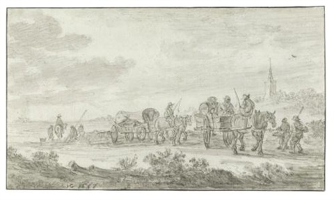 dune landscape with carts and horses and a church behind by jan josefsz van goyen