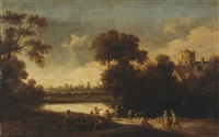 a wooded landscape with figures resting and fishing near a lake by joost cornelisz droochsloot