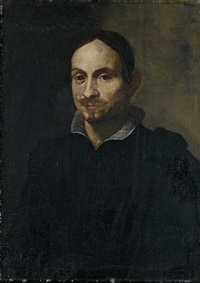 portrait of a man, wearing a black costume and white linen collar by alessandro tiarini