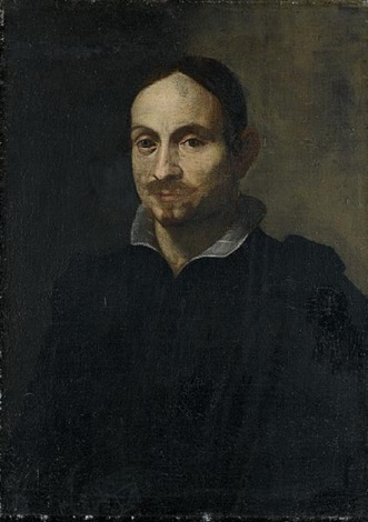 portrait of a man wearing a black costume and white linen collar by alessandro tiarini