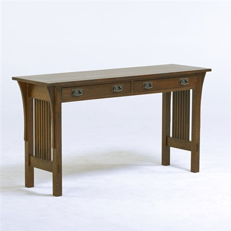 Contemporary Gustav Stickley style spindled console table with two