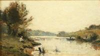 pecheur et promeneur assis au bord de la rivière by stanislas lépine