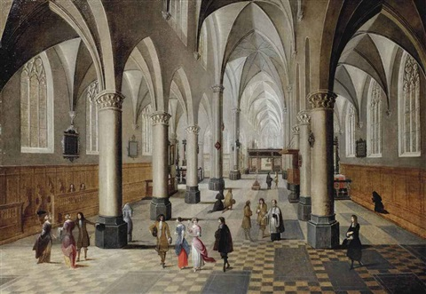 the interior of a gothic church with elegant figures strolling and conversing by peeter neeffs the elder