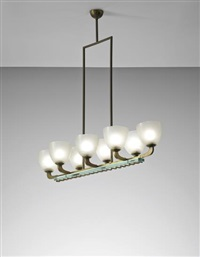 Gio Ponti Chandelier: early chandelier, designed for casa g., province of turin by gio ponti,Lighting