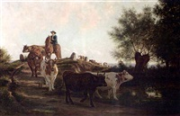 a herd of cows and their drover in a landscape by jan vrolijk