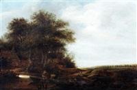 landschap met fuikenvissers by jacob van mosscher