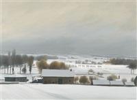 winterliche landschaft mit gehöft by claude sauthier