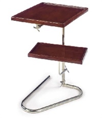 a mahogany and nickeled-metal adjustable side table, 1940s by jacques adnet