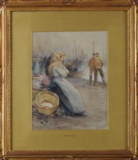 awaiting the boats - a fishergirl on a quayside by robert jobling