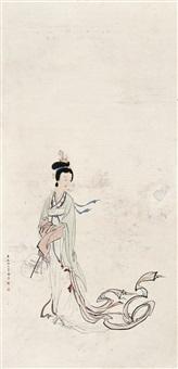 执扇仕女 立轴 设色纸本 by shao fang