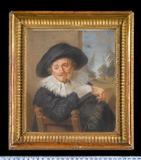 a gentleman, seated on a wood chair, wearing 17th century costume, he holds a small branch, open window beyond by james scouler