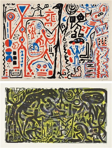 untitled; quo vadis germania (2 works) by a.r. penck
