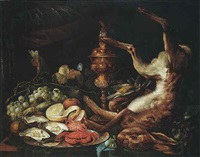 a still life of a dead hare and birds, with a platter of seafood and a lemon, with grapes and insects, and a gilt cup and cover by philip saurland