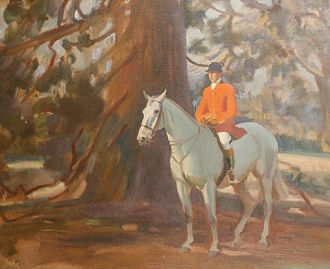 the huntsman on a grey horse untitled sketch verso by norman miller