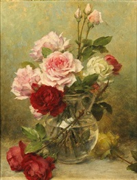 a vase of carnations (+ a vase of roses; pair) by gustave bienvetu