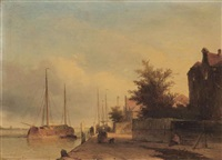 figures on a quayside in a dutch town by jan weissenbruch