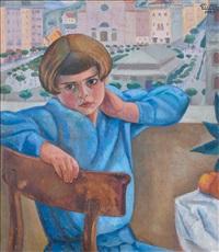 fanciulla seduta sul terrazzo by alfredo guttero
