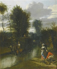 a landscape with a haycart crossing a stream, two figures on the banks to the right by jan siberechts