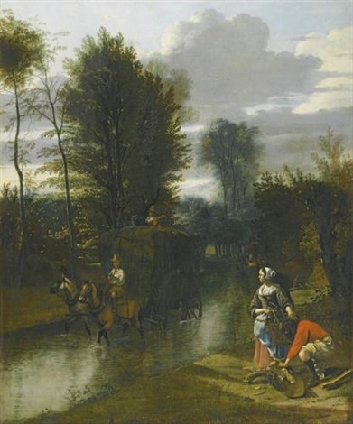 a landscape with a haycart crossing a stream two figures on the banks to the right by jan siberechts