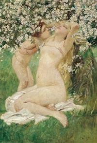 unter blühenden bäumen - bildnis der muse des künstlers mit deren gemeinsamen tochter anna by franz amling