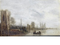 figures in a ferry approaching a harbour by gillis (egidius i) peeters
