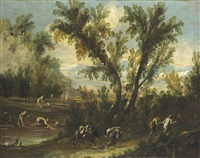 a wooded landscape with travellers on a track and washerwomen by a stream by antonio francesco peruzzini