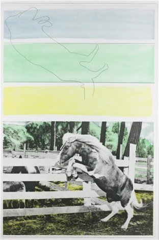 hegel's cellar - three colors ( with horse ascending) by john baldessari