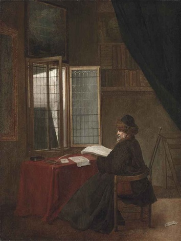 an old man seated at his desk before an open window holding a book by jacobus vrel