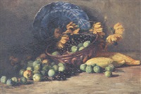 plums, cherries and sunflowers in a copper pan, a blue plate and mangoes on a table by elisabeth ankermann