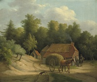 haywain by a farm by anthony oberman