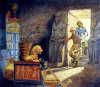 explorers entering egyptian tomb by verne tossey